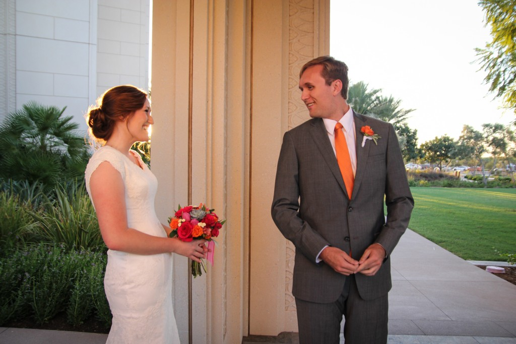 First look Gilbert AZ Temple Wedding